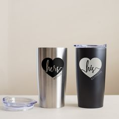 Personalized His & Hers Stainless Steel Tumblers Personalized Tumblers, Personalized Gifts, Vaso Yeti, Gifts For Wedding Party, Wedding Stuff, Product Shot, Glitter Tumblers, Matching Tattoos, Tumbler Cups