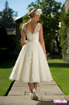 3/4 length a-line wedding dress lace