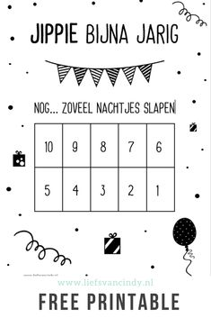Bijna jarig? Tel af met de gratis aftelkalender die je op het blog kunt downloaden. Kinderverjaardag, nog zoveel nachtjes slapen. Birthday Diy, Girl Birthday, Happy Birthday, Granny Joy, Diy For Kids, Crafts For Kids, Vogue Kids, Happy B Day, Creative Kids