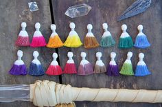 """Mini Dip Dye Ombre Tassels, NEW Colors, 3+ Tie Dyed Handmade Cotton Tassels,  Jewelry Making Supply, Craft Supply, 1.25"""", You Choose Colors by WomanShopsWorld"""