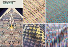 A/W 15/16 Textile Forecast: Intuitive This kind of goes along with the futuristic trends for fall and winter next year with the interesting technicolor patterns and mixing of neons with earthy tone colors