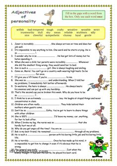 Adjectives of Personality - English ESL Worksheets for distance learning and physical classrooms Teaching English Grammar, English Grammar Worksheets, Grammar Lessons, English Language Learning, English Writing, English Words, English Lessons, English Vocabulary, Learn English