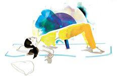 Sich getragen fühlen  Unterstützte Schulterbrücke: In der Rückenlage Beine anwinkeln und Füsse aufstellen, Knie und Zehenspitzen zeigen nach vorn. Ein atmend Becken langsam anheben und einen Yoga-Block oder ein dickes Buch unter dem Kreuzbein positionieren – hochkant oder quer. Arme neben dem Körper ausbreiten, Handflächen zeigen nach oben.  Atmung: In dieser Stellung hat Ihre Lunge viel Freiraum. Mit jeder tiefen Ausatmung das Körpergewicht mehr und mehr an den Block abgeben und den Atem…
