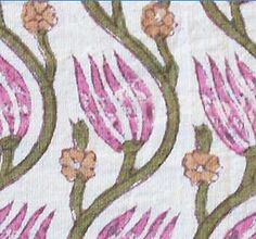 2½ Yards. Indian Fabric. Pink Flowers. Hand Printed, Cotton, Block Print.