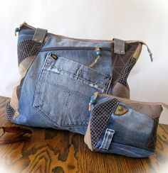 denim bag&purse, patchwork bag, handmade denim bag, jeans bag,recycled jeans,jean handbag