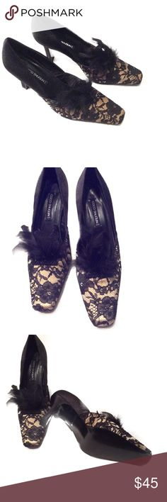 """NWT Coco Shogun Black and Gold Heels 10M  NWT Coco Shogun Black and Gold Heels, Size 10M. Beautiful floral lace design over gold fabric along with feathers. Heel is 3.75"""". All man made materials.  NO TRADES OR LOW BALL OFFERS Coco Shogun Shoes Heels"""
