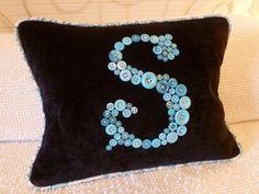 monogrammed S button pillow