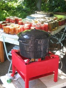 Thus is how I can.Its so much easier on the heat aspect on the house. Canning outside with an outdoor propane burner