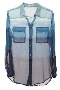 EQUIPMENT, BLUE OMBRE: 100% silk.