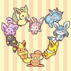 Eevee evolution, heart shape, cute, chibi, Jolteon, Glaceon,,Vaporeon, Sylveon, Leafeon, Espeon, Umbreon, Flareon; Pokemon