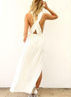 1ddc574af6d6 White Longer Lengths Dress - White Maxi Dress with Plunge