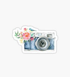 stickers 'Cute Watercolor Vintage Camera ' Sticker by janachesnut Tumblr Stickers, Cool Stickers, Printable Stickers, Laptop Stickers, Journal Stickers, Planner Stickers, Camera Drawing, Cute Camera, Homemade Stickers