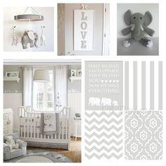 Gender Neutral Gray and White Elephant Nursery. Nursery prints from:  www.etsy.com/shop/LJBrodock