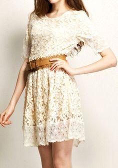 Floral Lace Dress + Belt
