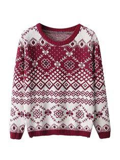 Ethnic Pattern Long Sleeve Woman Sweater