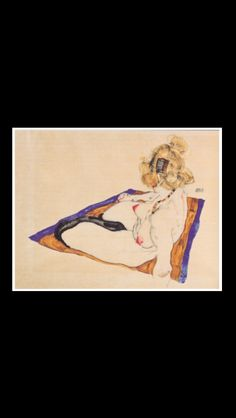 ". Egon Schiele - "" Blond nude model, sitting on brownish-blue cloth "", 1912 - Watercolor and pencil - 32 x 48,2 cm - Graphische Sammlung Albertina, Vienna (-)"