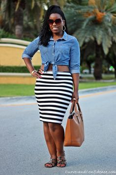 Guest Post: 5 Ways to Wear a Striped Pencil Skirt via @Eboni Overbaugh Overbaugh Ifé (The Fashionista Next Door)