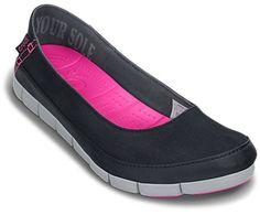 Crocs Women's Stretch Sole Flat | Women's Comfortable Flats | Crocs Official Site | Black/Grey | 10