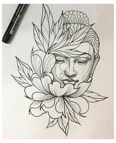 Buddha Tattoo Design, Tattoo Design Drawings, Art Drawings Sketches Simple, Tattoo Sketches, Tattoo Designs, Buddha Lotus Tattoo, Lotus Tattoo Design, Buda Tattoo, Leg Tattoos