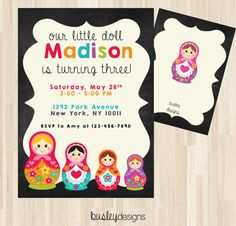 Russian Doll Invitation Nesting Doll Invitation by BusleyDesigns