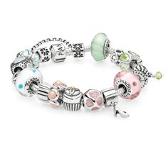 What color is your favorite pastel shade? #PANDORAcharm bracelet #mint #lightpink #babyblue