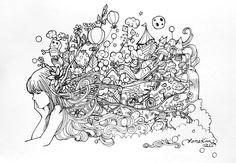 My Illustrative explosion done with ink.   www.janejiyeonkim.com