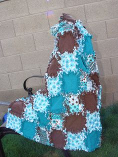 Brown and Turquoise Flower Flannel Rag Baby or Toddler by AuntBugs, $78.50