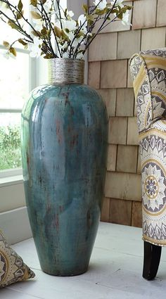 It's okay to put baby blue in a corner. Let Gallery Home Staging help you put the right pop of color to add interest in your home. www.thegalleryhomestaging.com