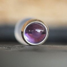 LUMINOUS Collection, Amethyst Helix Piercing Earring, 3mm Purple Amethyst Tragus Piercing Stud, February Birthstone Jewelry