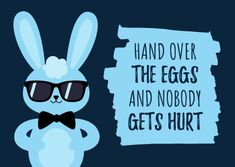 Customize the Funny Cool Blue Rabbit Easter Card template and make it match your brand!