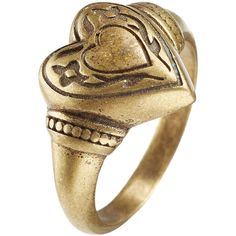 Etro Heart Ring ($69) ❤ liked on Polyvore featuring jewelry, rings, gold, heart shaped jewelry, etro jewelry, heart jewelry, heart jewellery and gold tone jewelry