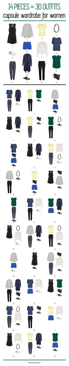 Sustainable capsule wardrobe for women, with 14 items you can make more than 30 different combinations. All items are from sustainable brands like Armedangels, studio JUX, Veja, People Tree, Patagonia, O My Bag and H&M concious.