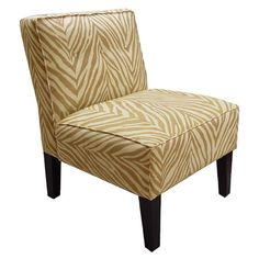 Slipper chair with zebra-print upholstery and a pine wood frame. Handmade in the USA.  Product: ChairConstruction Materia...