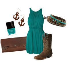 Cowboy boots and anchors! This outfit is made for me! All it needs is some leather!!