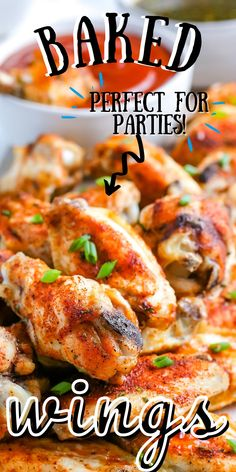 Our oven Baked Chicken Wings recipe takes about 30 minutes to make and is perfect for parties and the Big Game. Follow Easy Budget Recipes for more crowd pleasing appetizers! Yummy Appetizers, Appetizer Recipes, Snack Recipes, Dinner Recipes, Dip Recipes, Pasta Recipes, Budget Meals, Easy Budget, Budget Recipes