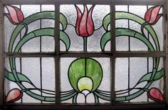 Antique Stained Glass Window ART NOUVEAU TULIPS Vitrail in Antiques, Architectural & Garden, Stained Glass Windows | eBay
