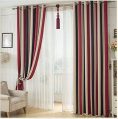 Stripe Curtains Window tulle Translucidus Curtains Modern Window  Decorative room divider Voile curtain Shading Rate 70-80% #Affiliate