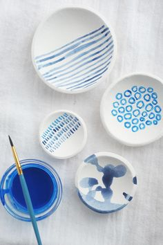 Make your own hand-painted bowls using air dry clay - DIY indigo clay bowls
