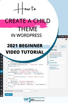 This easy step by step video tutorial will show you how to create a child theme for any WordPress theme. So any changes you make to your WordPress theme won't be lost with the next WordPress upgrade. | WPuncovered.com #blogging #childtheme #WordPressBeginner #startonline #stepbystep #WordPress #createwebsite #WPVideoTutorials Business Website, Online Business, Seo Tutorial, Create Website, Seo Tips, Blogging For Beginners, Cool Websites, Wordpress Theme, Helpful Hints