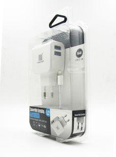 Adaptador de Corriente Doble Puerto USB 2.1A y Cable de iPhone 5/6/6Plus modelo 46151 - http://complementoideal.com/producto/adaptador-de-corriente-doble-puerto-usb-2-1a-y-cable-de-iphone-566plus-modelo-46151/  -  Adaptador de Corriente Doble Puerto USB Podrás cargar hasta 2 dispositivos al mismo tiempo gracias al doble puerto USB Compatible con productos Android e IOS Soporta carga de dispositivos grandes: iPad, Galaxy Tab, Xperia Tab, etc., gracias a los 2.1A de po