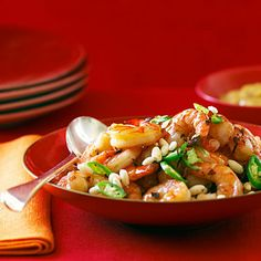chili shrimp--instead of tempura frying includes puffed rice cereal for crunch