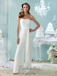mon cheri bridals 215103 - Strapless chiffon jumpsuit, semi-sweetheart hand-beaded bodice, wrap around multi-layer chiffon belt at natural waist, wide leg pants. Matching shawl and removable straps included.
