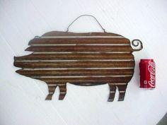 Rustic Rusty Pig Corrugated Metal Tin Roof Roofing Garden Barn Art Wall Decor | eBay