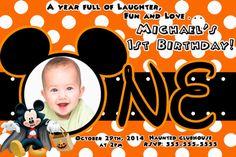 Minnie mouse birthday halloween invitations 899 halloween disney mickey halloween 1st birthday invitations filmwisefo