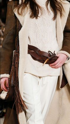 "Ralph Lauren Collection Fall 2015 Accessories: Created in Italy from interlaced strips of burnished vachetta leather, this rustic belt exudes artisanal elegance. The 3""-wide style fastens with a genuine horn toggle closure. Maximize its casual-chic look by wearing it slung over the hips."