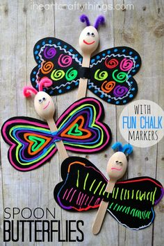 Kids will love decorating the wings of this adorable spoon Butterfly Kid Craft with liquid chalk markers.