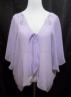 Womens Dress Or Bed Jacket 2X Lavender Faux Pearls Sequins Ties Semi Sheer  #Unbranded #cape