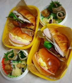 posted by @chika_5055 今日のお弁当バターロールとクロワッサンサンドマカロニと豆のサラダ...