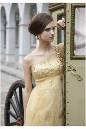 Tiffany Bridesmaid dresses One-shoulder Picture color Organza Spumous