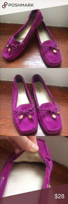 Purple suede Michael Kors loafers Fun and flirty suede loafers. Looks great with white jeans to add a pop of color. Worn handful of times, but still have a lot of life left! Michael Kors Shoes Flats & Loafers